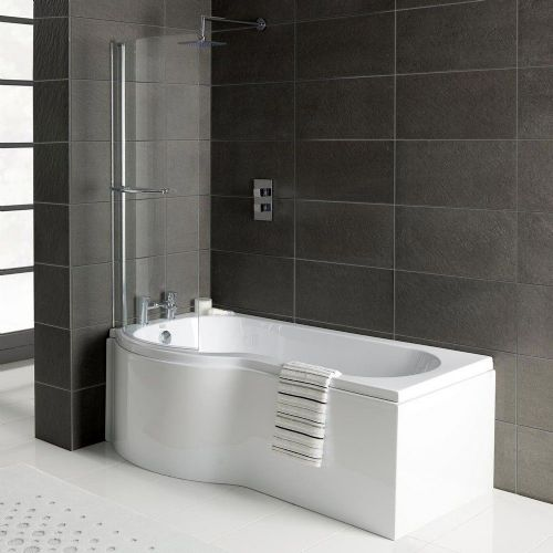 P Shaped Shower Bath with Screen and Front Panel,  Various Sizes